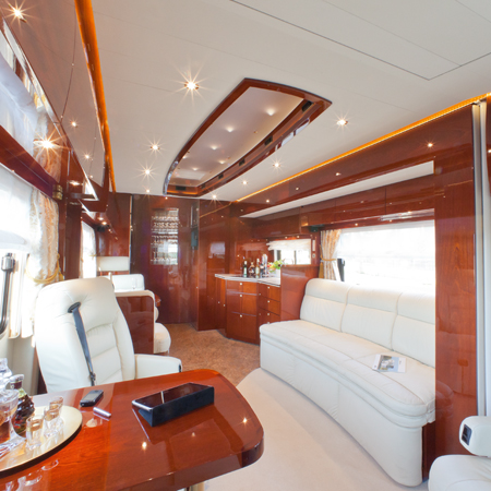 Motorhomes with real wood veneer